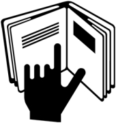 Hand and book symbol